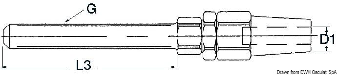 Terminale da inserire nei tenditori con filetto metrico destro