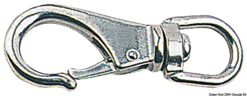 Moschettone in acciaio inox con girella