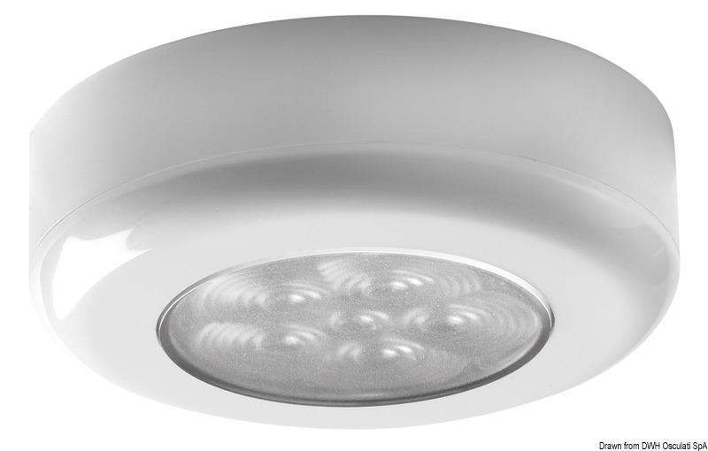 Luce di cortesia rot. ghiera bianca 6 LED bianchi