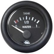 Indicatore livello acqua 10-180 ohm - Quadrante nero lunetta nera - 12 Volt - Misure mm: (A: 59) (B: 52) (C: 45)