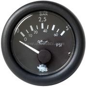 Pressione olio - Quadrante nero ghiera nera - Tipo: 0-5 bar - 12 Volt - Misure mm: (A: 59) (B: 52) (C: 45)