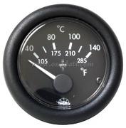 Indicatore temperatura - Quadrante nero ghiera nera - Tipo: H2o 40 gradi-120 gradi - 12 Volt - Misure mm: (A: 59) (B: 52) (C: 45)