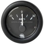 Amperometro - Quadrante nero lunetta nera - Amps 30-0-30 - Misure mm: (A: 59) (B: 52) (C: 45)