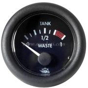 Waste indicatore acque nere - Quadrante nero lunetta nera - 12 Volt - Misure mm: (A: 59) (B: 52) (C: 45)