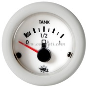 Indicatore livello carburante 10-180 ohm - quadrante bianco lunetta bianca - 12 Volt - Misure mm: (A: 59) (B: 52) (C: 45)
