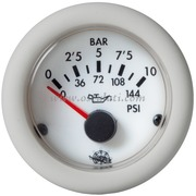 Pressione olio - Quadrante bianca ghiera bianca - Tipo: 0-5 bar - 12 Volt - Misure mm: (A: 59) (B: 52) (C: 45)