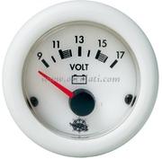Voltometro - Quadrante bianco ghiera bianca - V CC:  10-16 - Misure mm: (A: 59) (B: 52) (C: 45)