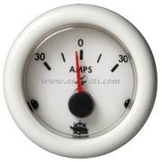 Amperometro - Quadrante bianco lunetta bianca - Amps 30-0-30 - Misure mm: (A: 59) (B: 52) (C: 45)