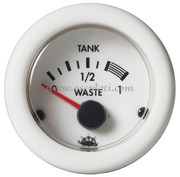Waste indicatore acque nere - Quadrante bianco lunetta bianca - 12 Volt - Misure mm: (A: 59) (B: 52) (C: 45)