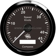 Spidometro / contamiglia GPS senza trasduttore - Quadrante nero, lunetta nera - 12V Tipo 1 [2778002]