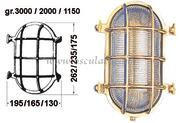Lampada OLD MARINA a tartaruga ovale in ottone lucido