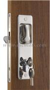Serratura per porte scorrevoli con maniglie incassate, chiave YALE esterna, blocco interno