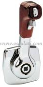 Accessori NauticiComando monoleva ad incasso per montaggio a parete. Versione con blocco leva folle e interruttore Trim, pomolo radica. Sigla B310BR.