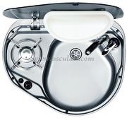Accessori Nautica Piano cottura con lavello destro vetro fumè  [5080420]