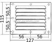 Accessori Nautica Griglia areazione inox 115 x 127 mm  [5302101]<br/><font color=#962308>Quantità Minima: 4 pezzi (2.64€ al p.zo) </font>