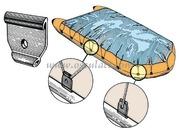 Aggancio in plastica per il fissaggio dei copertoni e tendalini sui gommoniConfezione da 12 agganci <br/><font color=#962308>Quantità Minima: 2 pezzi (3.35€ al p.zo) </font>