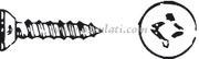 Viti autofilettanti testa svasata piana taglio a croce, UNI 6955 DIN 7982